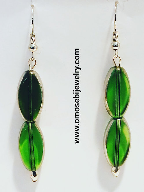 Deep Green Glass with Silver Trim Earrings
