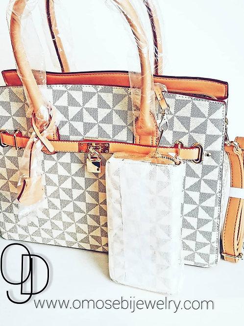 Grey Checked Satchel Vegan Handbag