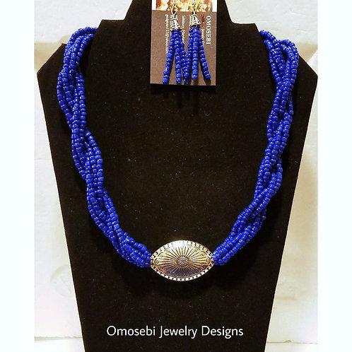 """Royal Twist"" Seed Bead Necklace Set & Earrings"