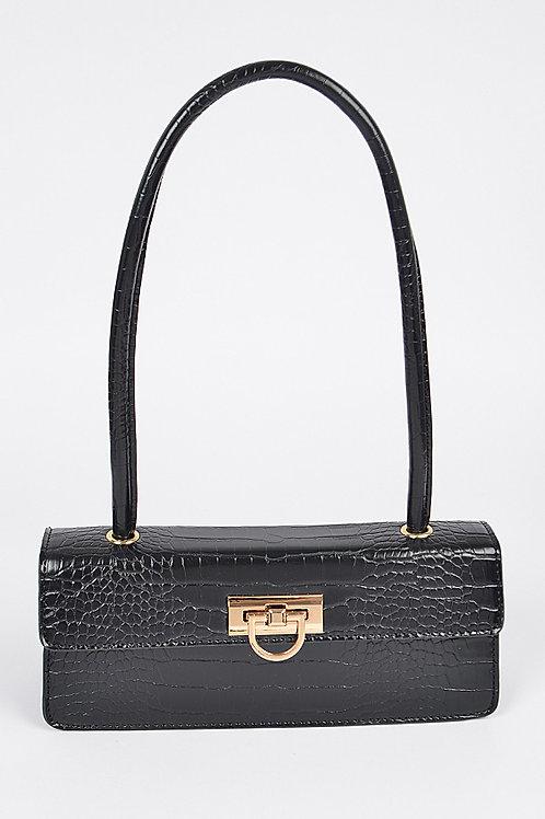 Faux Croc Shoulder Bag