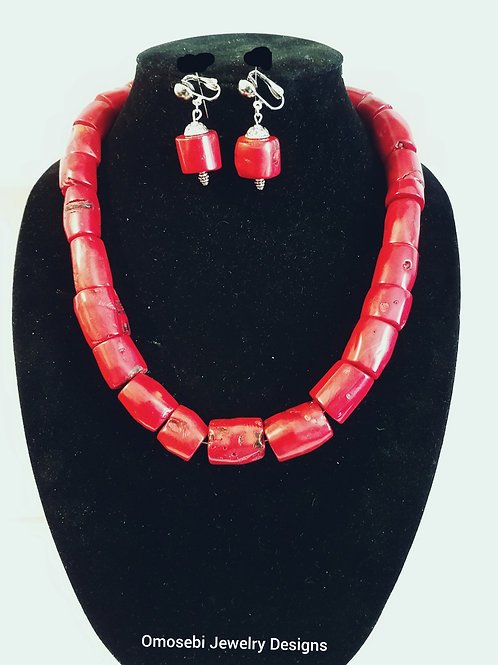 """""""TAKEN"""" Red Dyed Coral Bead Necklace & Earrings Set"""