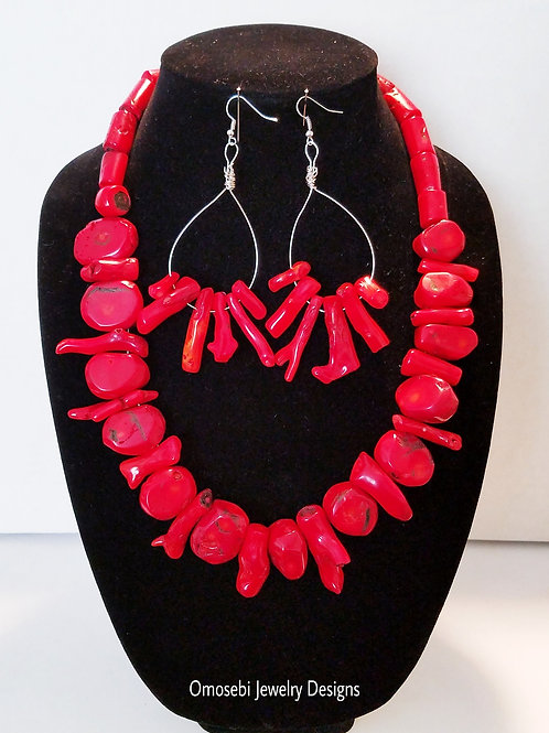 """Yoruba Girl"" Red Corral Necklace and Earring Set"