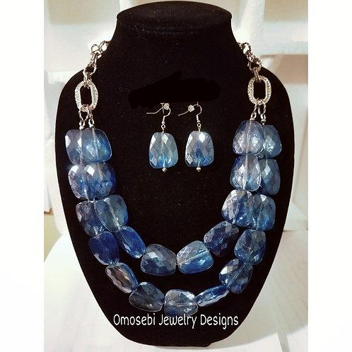 """Fedra"" Ice Blue Necklace & Earring Set"