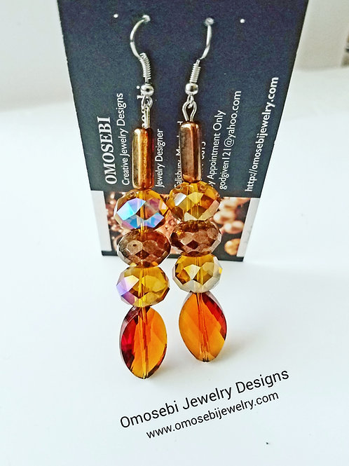 Cognac Glass Bead Earrings
