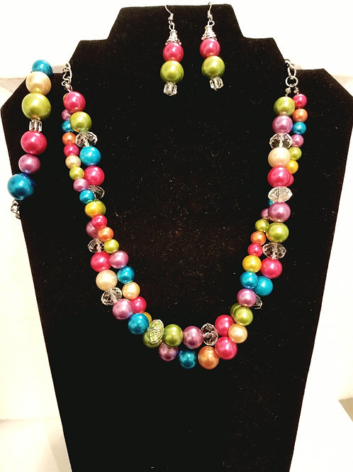 Double Layered Multicolored Glass Pearl Bead Nkl & Earrings