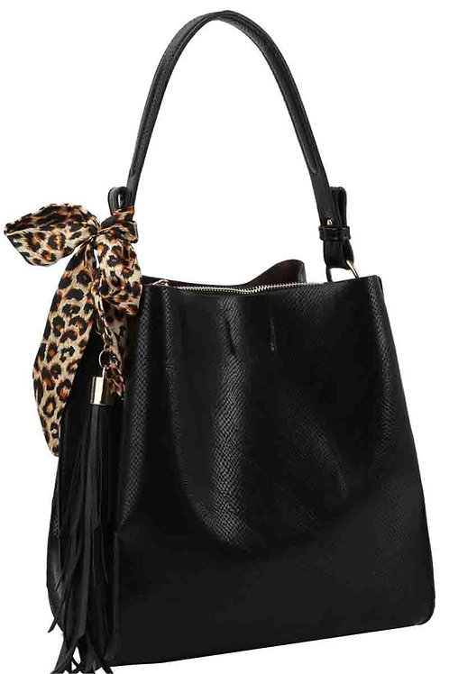Leopard Scarf & Tassel Hobo Bag