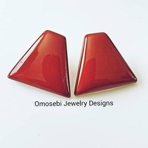 Coffee Triangular Earrings