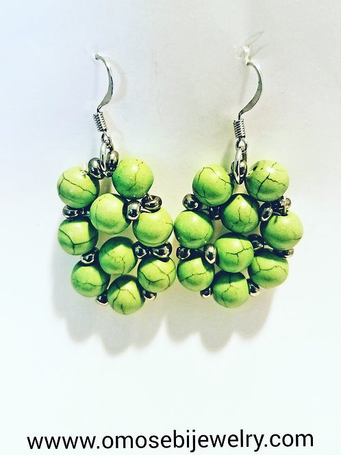 Pea Green Bunche Bead Earrings