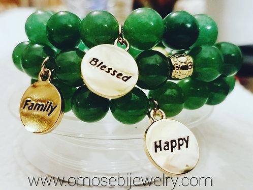 3pc Green Aventurine Stone Stretch Charm Bracelet