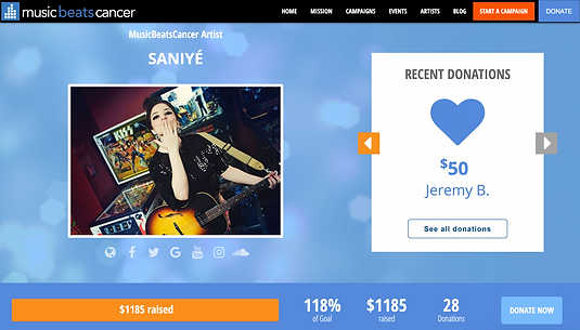 Music Beast Cancer Artist Saniye fundraiser page