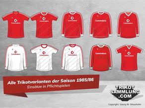 Die Trikothistorie des FC Bayern.