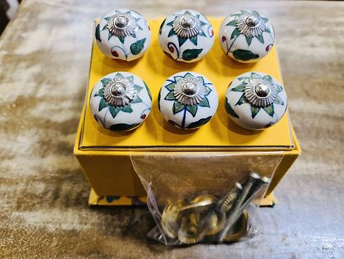 6 Green Handmade Ceramic painted Door knobs/Draw Pulls in gift box Sabirian
