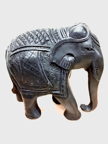 "Hand Made 8"" Black Marble Resin Elephant - Made for Sabirian"