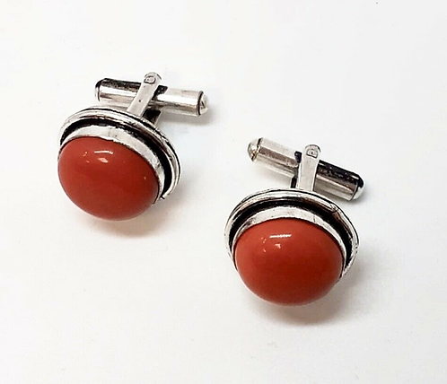 Red Semi-Precious Stone Cufflinks in Gift Box Handmade in India for Sabirian
