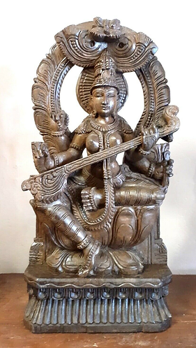 Hand Carved Saraswati Playing a Sitar Statue - Handmade for Sabirian