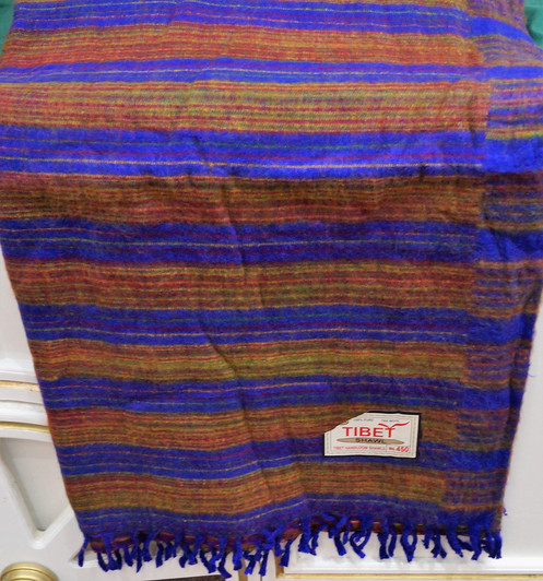Hand Crafted 100% Yak Wool Fair Trade Hand loomed Shawl / Scarf from Tibet  / Nep