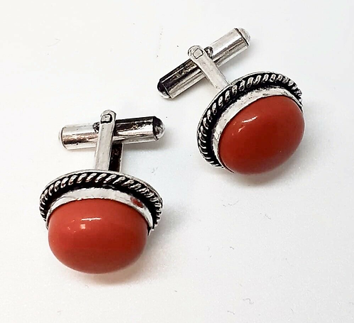 Red Cufflinks in Gift Box Handmade in India for Sabirian