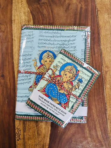 Set of 2 Handmade recycled notebooks with Ganesha - Handmade for Sabirian