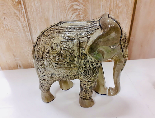 "Handcarved & Hand Painted 8"" Grey/Brown Kashmiri Elephant - Made for Sabirian"