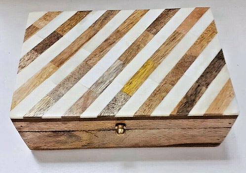 Wooden Storage/Jewellery Box with Bone Inlay - Handmade for Sabirian