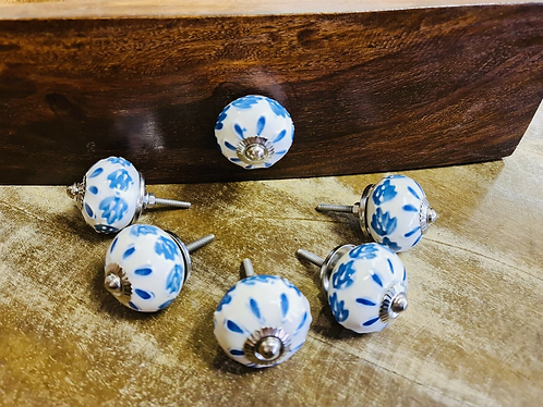 Set of 6 Blue Floral Handmade Ceramic painted Door knobs/Draw Pulls - Sabirian