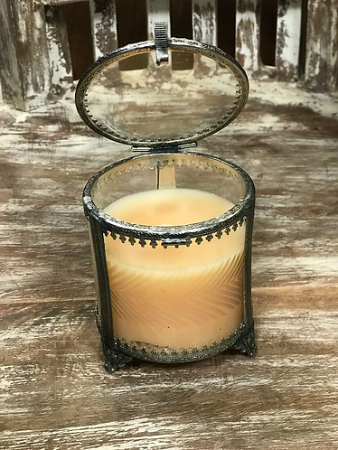 Vegan Soy Blend Handmade Ornate Candle in Reusable Glass and metal Jar with lid