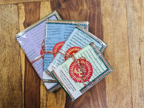 Set of 4 Handmade recycled Pastels notebooks with Aum - Handmade for Sabirian