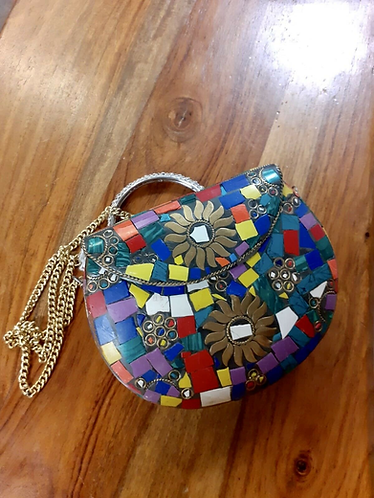 Handmade Tibetan style Hard Clutch hand bag