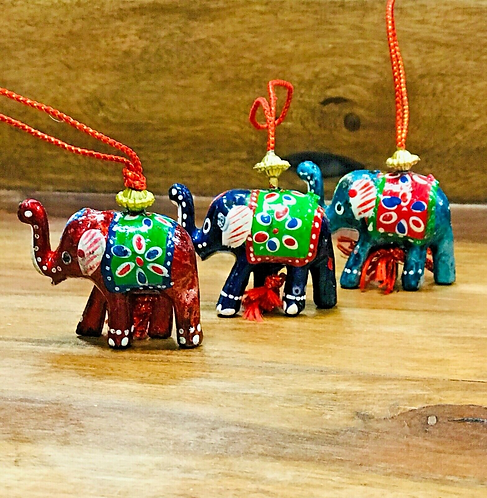 Set of 10 Handmade Indian elephant Christmas Decorations - Handmade for Sabirian