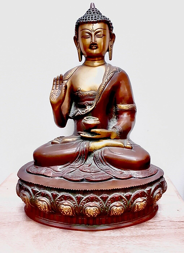 Large Handmade unique brass Meditating Buddha - Crafted for Sabirian
