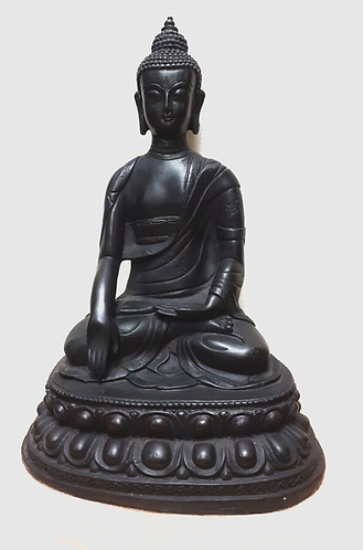 Handmade Black Resin Meditating Buddha - Handmade for Sabirian