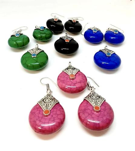 Handmade Tibetan Earring and Pendant set.