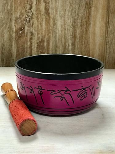 Handmade Pink and Black Tibetan Singing Bowl - Handmade for Sabirian