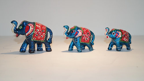 Set of 3 Hand Crafted / Painted Elephant Family Set