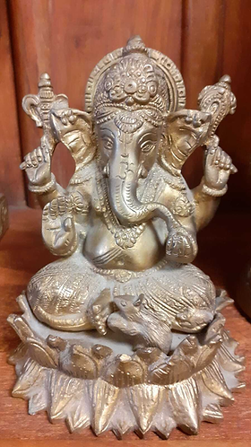 Hand moulded Ganesh Lost-wax Metal statue - Sabirian
