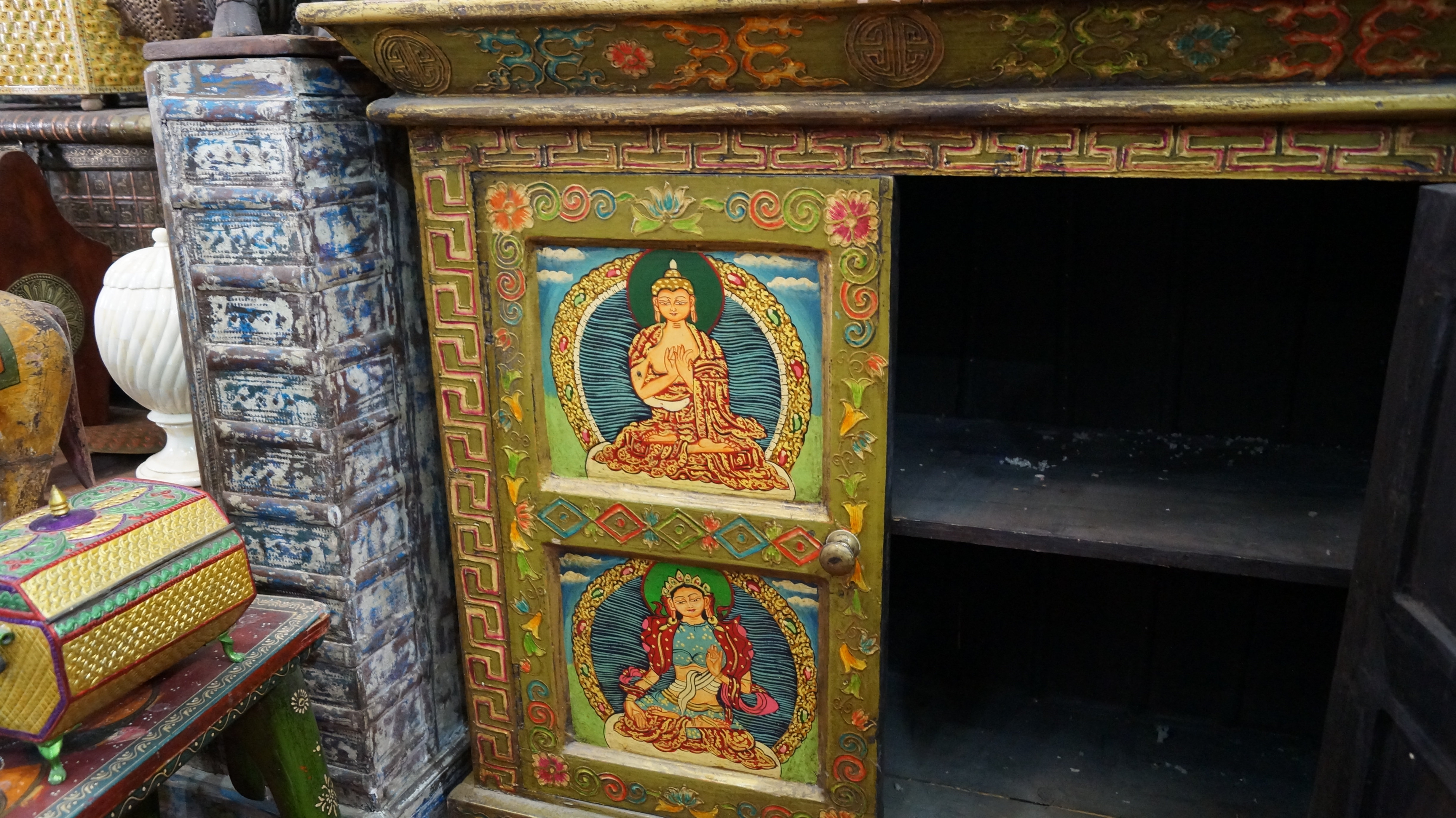 Antique Buddha Hand Painted Wooden Chest