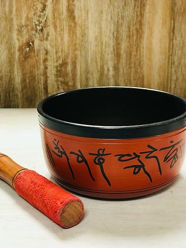 Handmade Red and Black Tibetan Singing Bowl with Buddhas Handmade for Sabirian