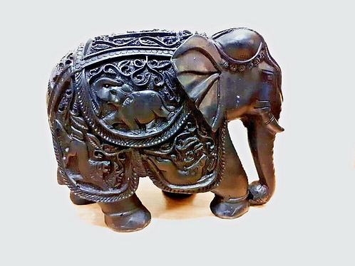 Hand Made Black Marble Resin Elephant - Made for Sabirian