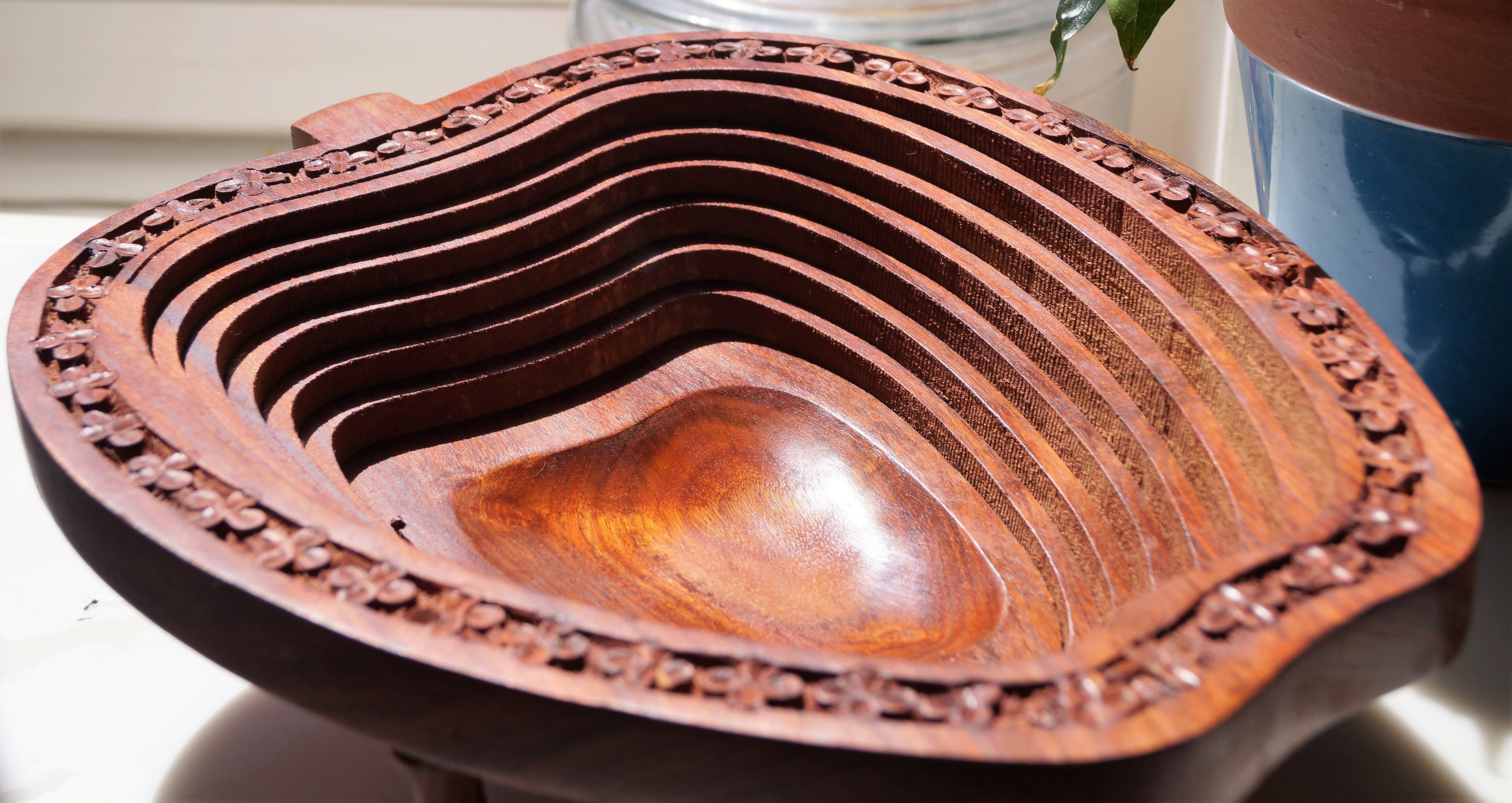 Handmade Collapsible Walnut Wood Bowl Apple Design