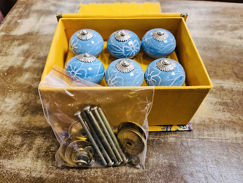 6 Baby Blue Handmade Ceramic painted Door knobs/Draw Pulls in gift box Sabirian
