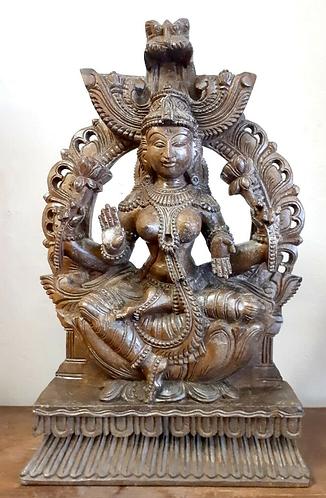 Hand Carved wooden Sitting Laksmi Statue - Handmade for Sabirian