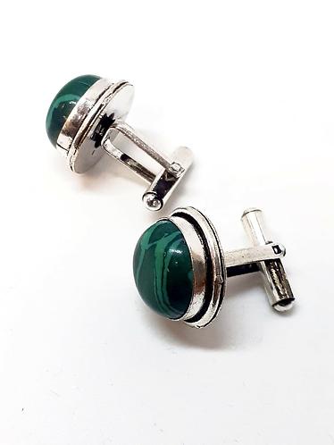 Green Semi-Precious Stone Cufflinks in Gift Box Handmade in India for Sabirian