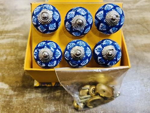 6 Blue Handmade Ceramic painted Door knobs/Draw Pulls in gift box Sabirian