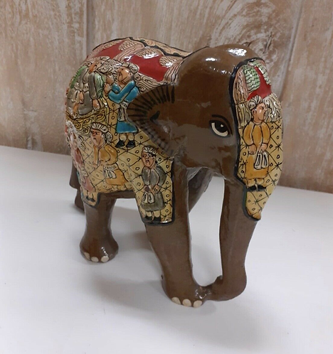 "Handcarved & Hand Painted 6"" Brown Kashmiri Elephant - Made for Sabirian"