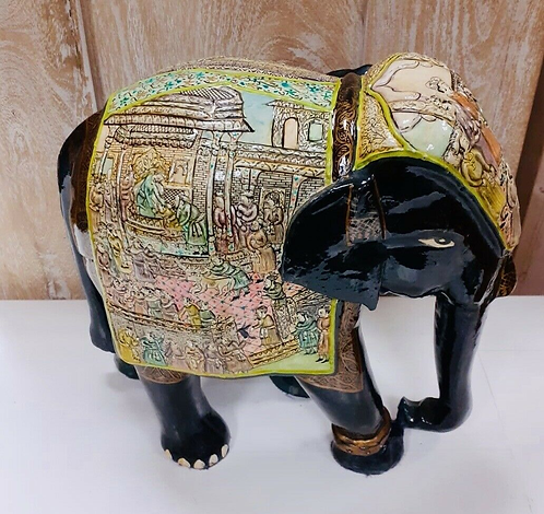 "Handcarved & Hand Painted 11"" Black/Green Kashmiri Elephant - Made for Sabirian"
