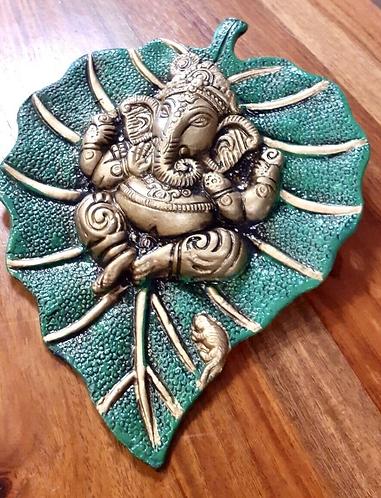 Handpainted Marble resin Ganesha on a peepal leaf - Handmade for Sabirian
