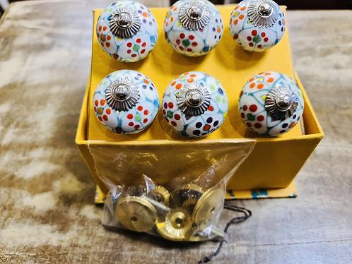 6 Polka Dot Handmade Ceramic painted Door knobs/Draw Pulls in gift box Sabirian