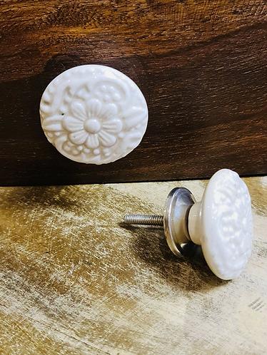 Set of 6 Carved Floral Handmade Ceramic painted Door knobs/Draw Pulls - Sabirian