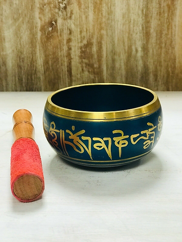 Handmade Small Blue and Gold Tibetan Singing Bowl - Handmade for Sabirian