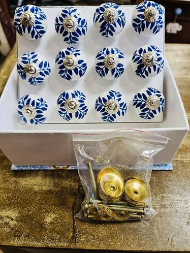 12 Blue Handmade Ceramic painted Door knobs/Draw Pulls in gift box - Sabirian